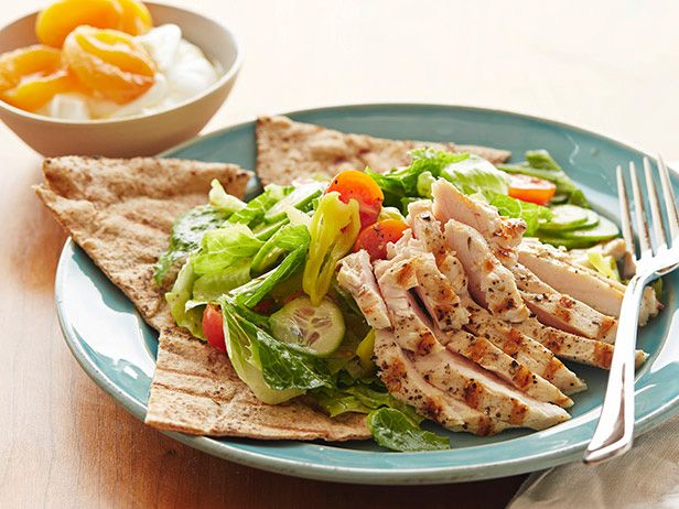 Greek Chicken Salad With Whole Wheat Pita And Yogurt With Apricots