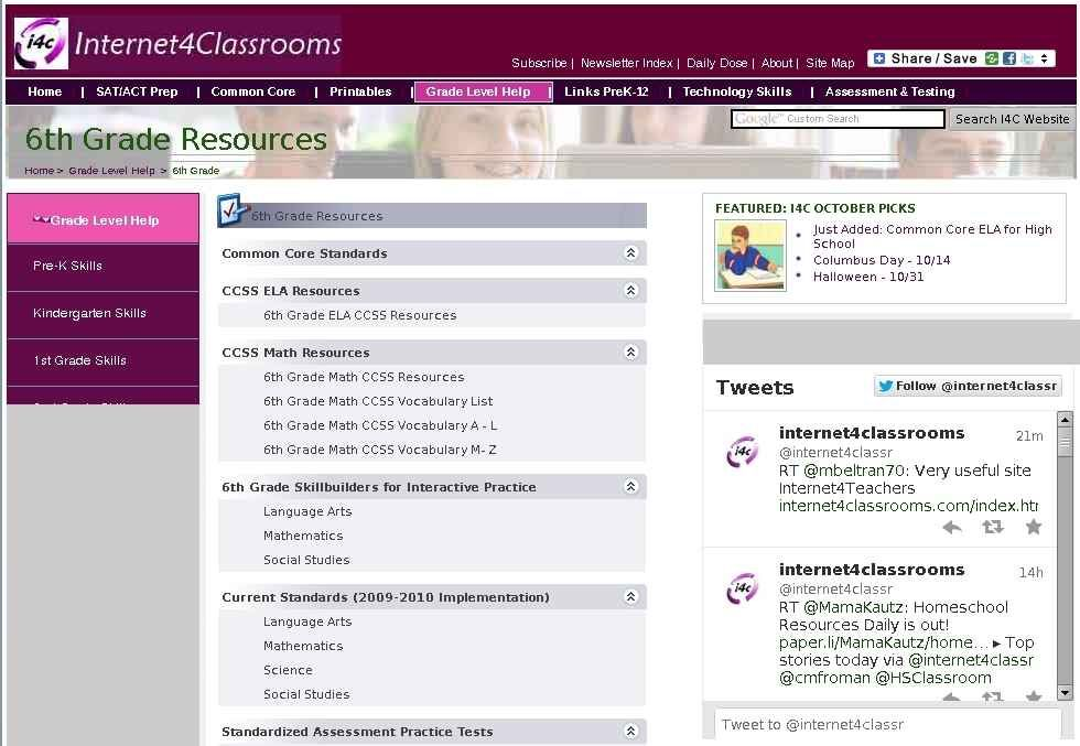 Sixth 6th Grade Resources At Internet 4 Classrooms Middle School