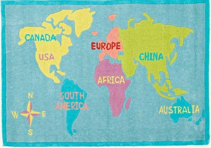 World Map Blue Floor Rug Available at Kids Mega Mart line Shop