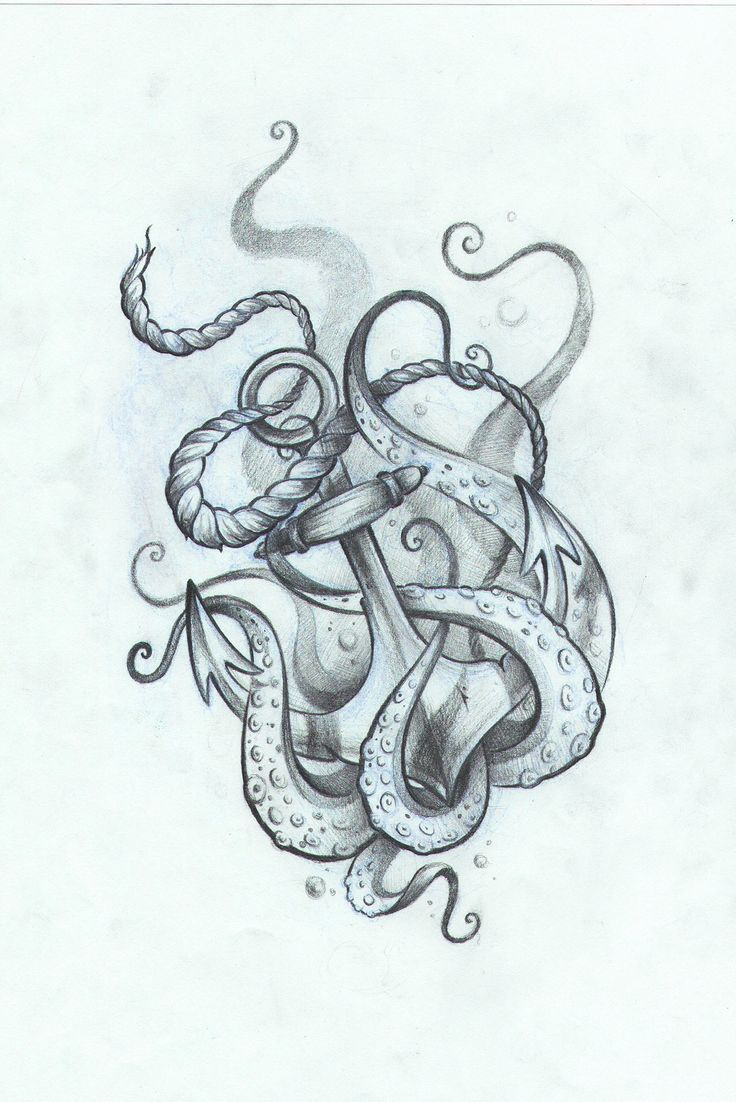 classic black and grey octopus with anchor tattoo design thigh