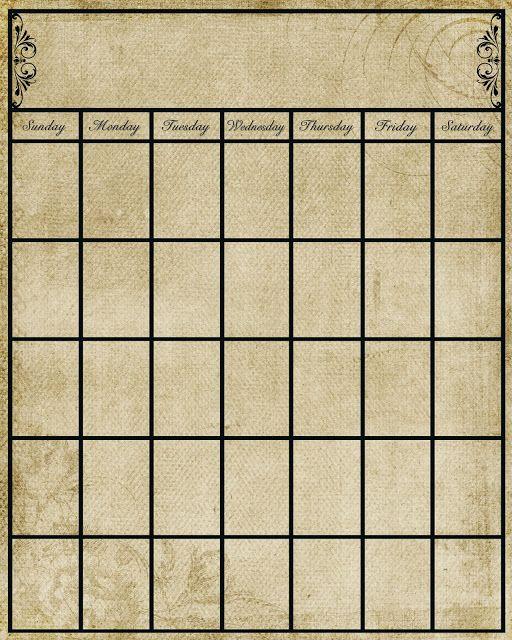 Vintage blank calendar page ~ Free Printable! DIY DIY DIY DIY - printable blank calendar