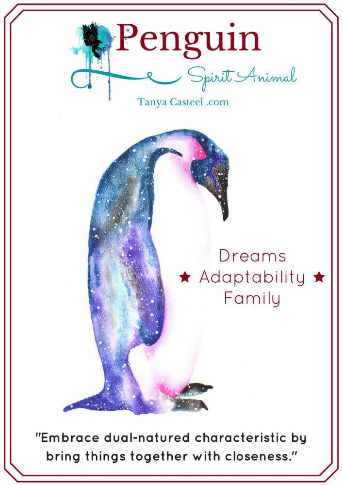 Penguin Spirit Animal Galaxy Painting And Symbolism Cosmic Animal