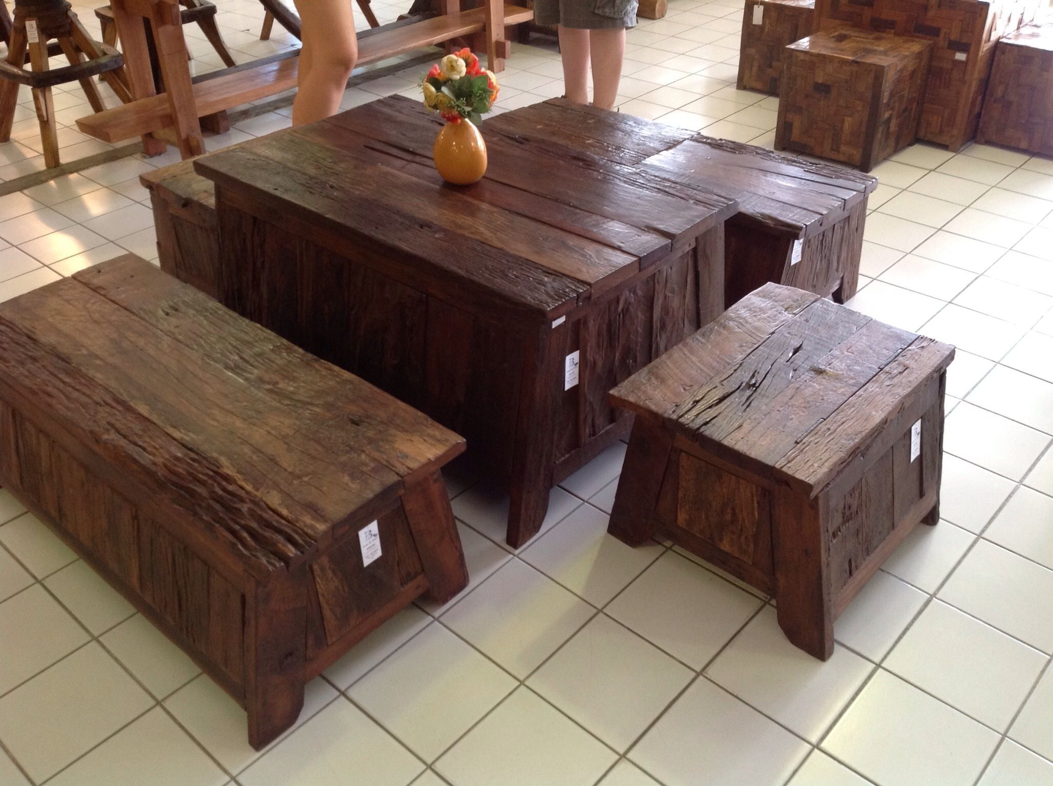Handcrafted teak wood storage table and benches from for Thai furniture