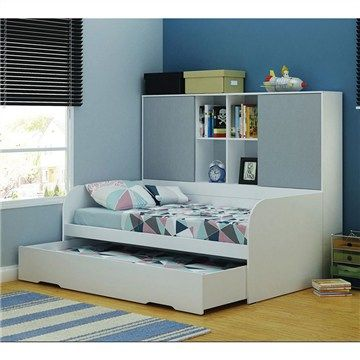 Norman Midi Sleeper With Trundle Book Case And Storage Single Set Includes 1 X Bed Bookcase Grey
