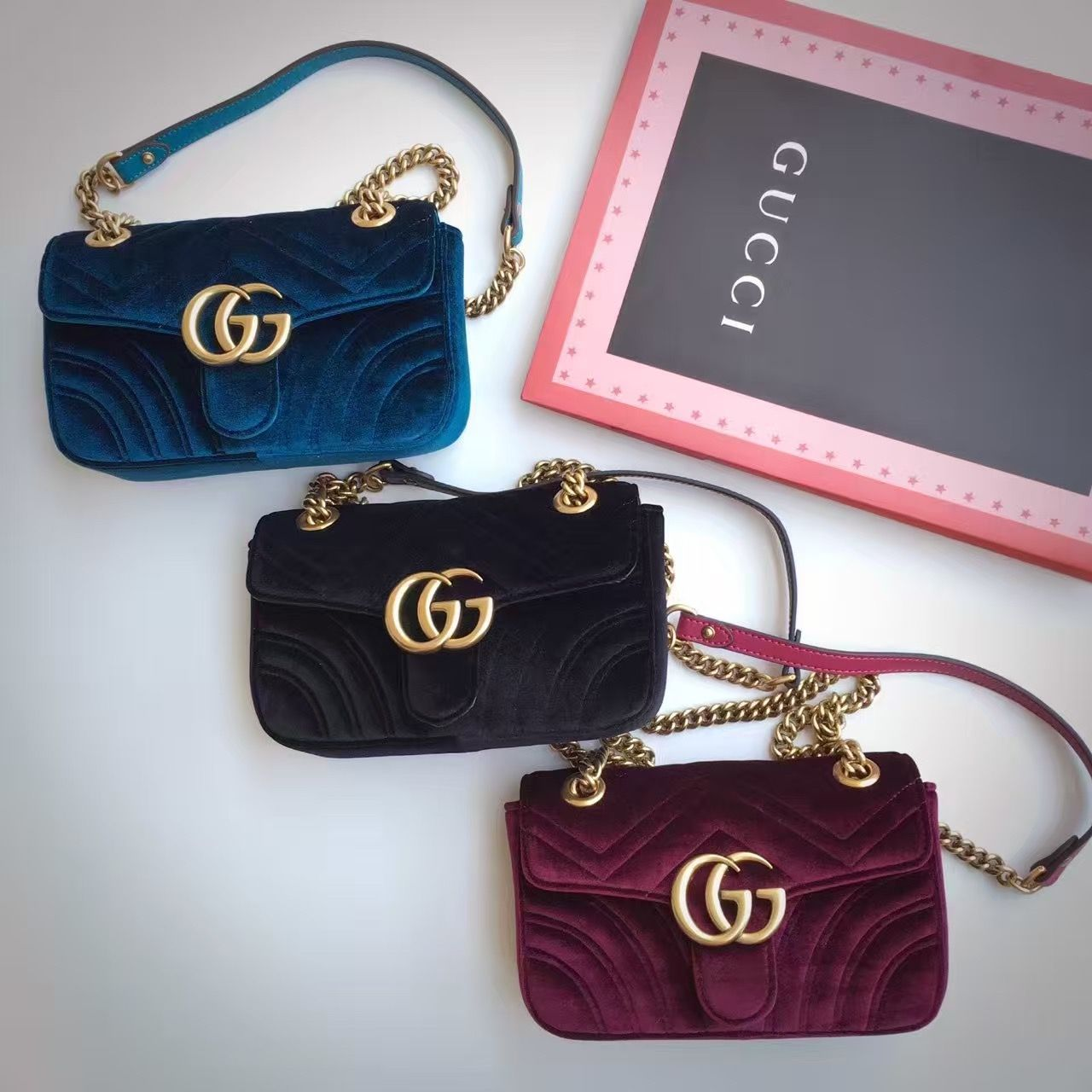 $218 Gucci GG Marmont Velvet Mini Shoulder Bag 2016 Email