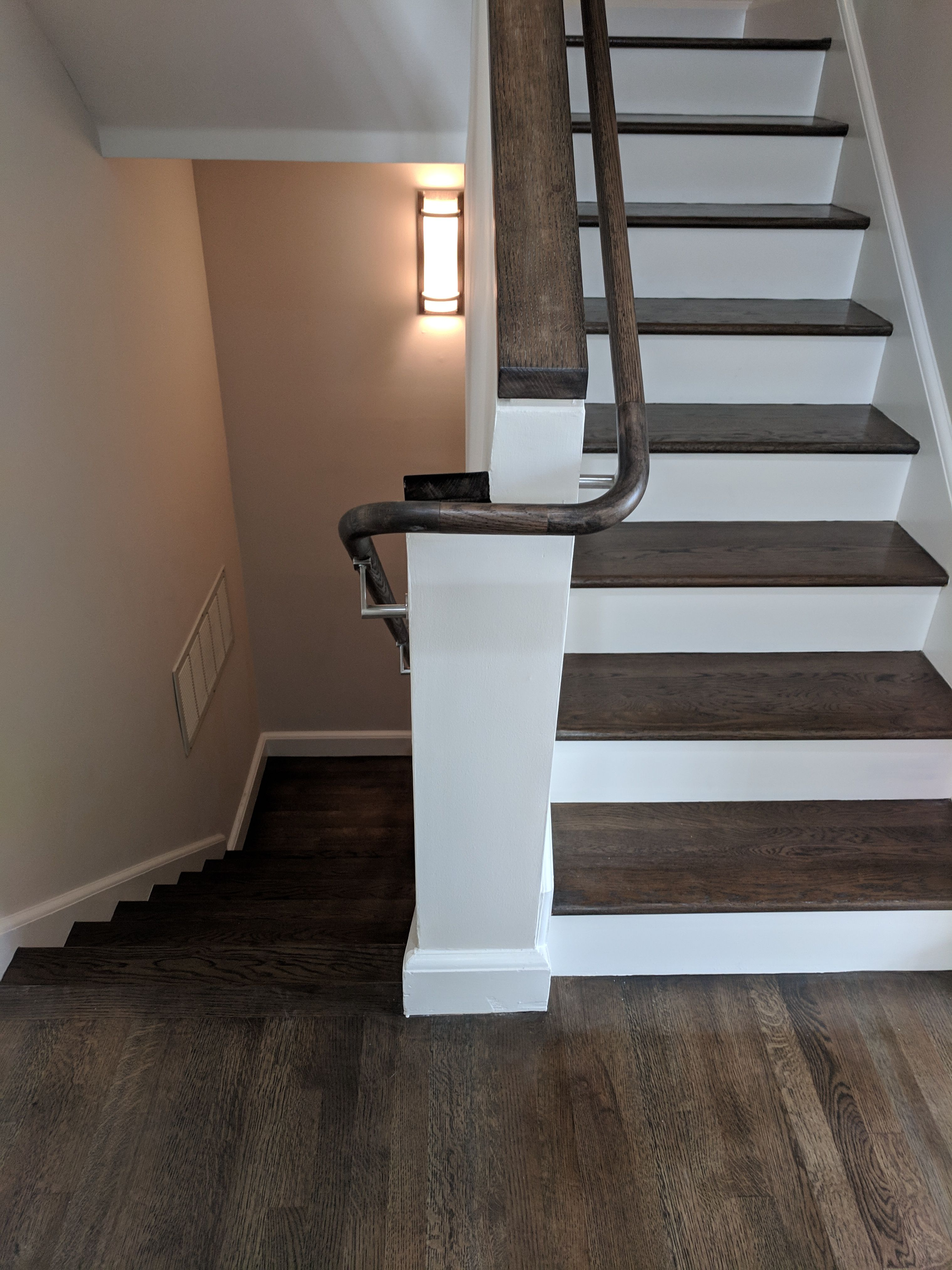 White Oak Tongue Groove Hardwood Flooring With Rustic Pewter Stain 3 Story Townhouse San Fra Installing Hardwood Floors Vinyl Installation Hardwood Floors