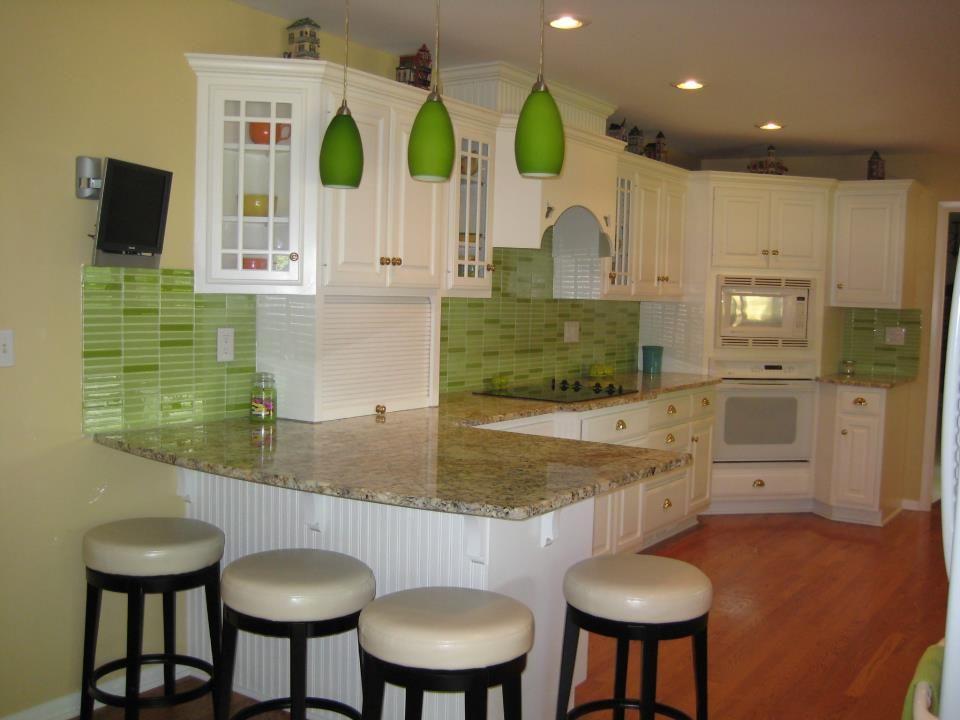 Awesome Lime Green Glass Tile Mosaic Kitchen Backsplash Green