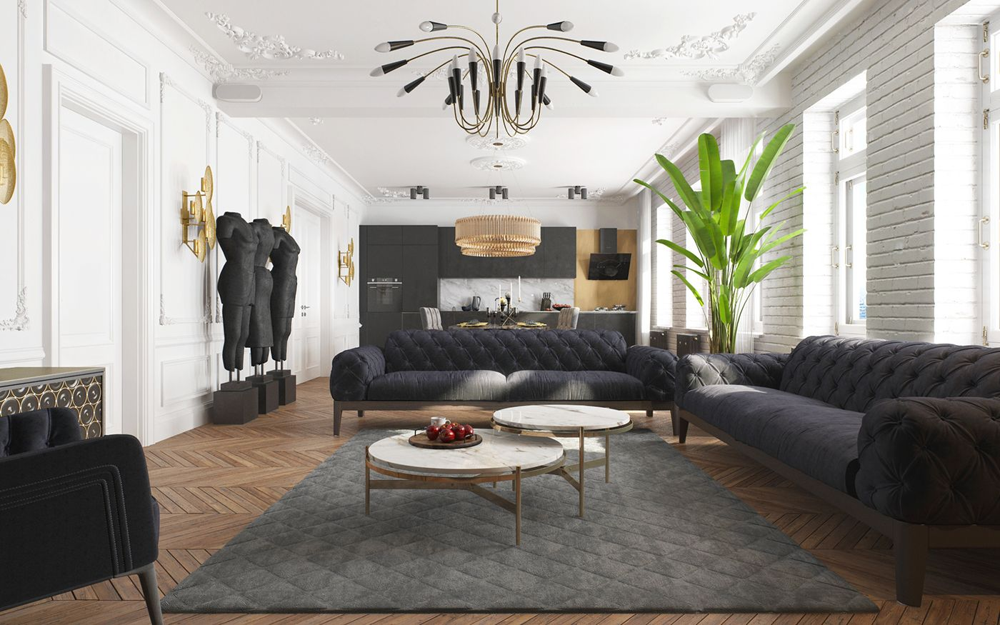 HOW STUNNING CAN A BLACK APARTMENT DESIGN BE?   The House   Pinterest