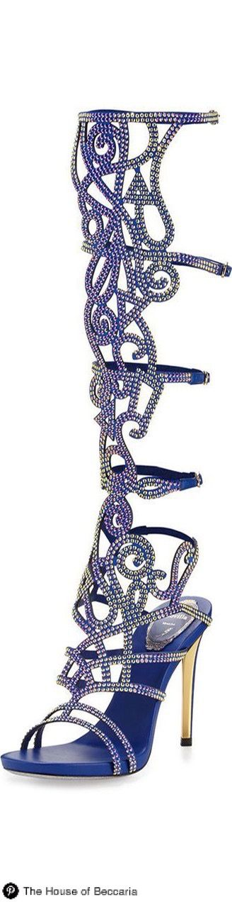 ~Rene Caovilla Knee-High Crystal Gladiator Sandal | The House of Beccaria