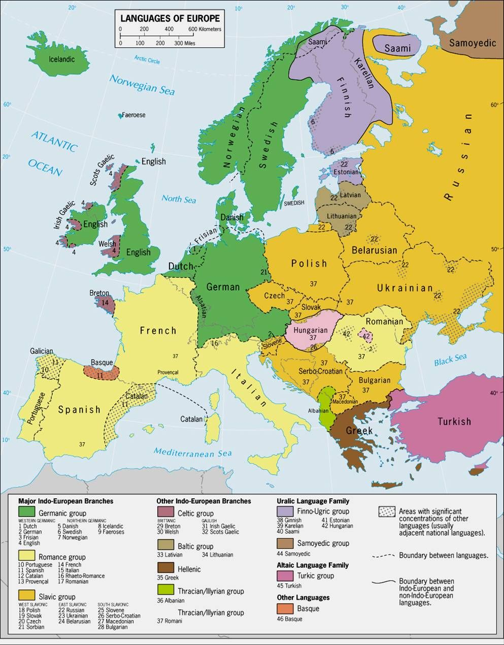 languages of europe classification by linguistic family source link