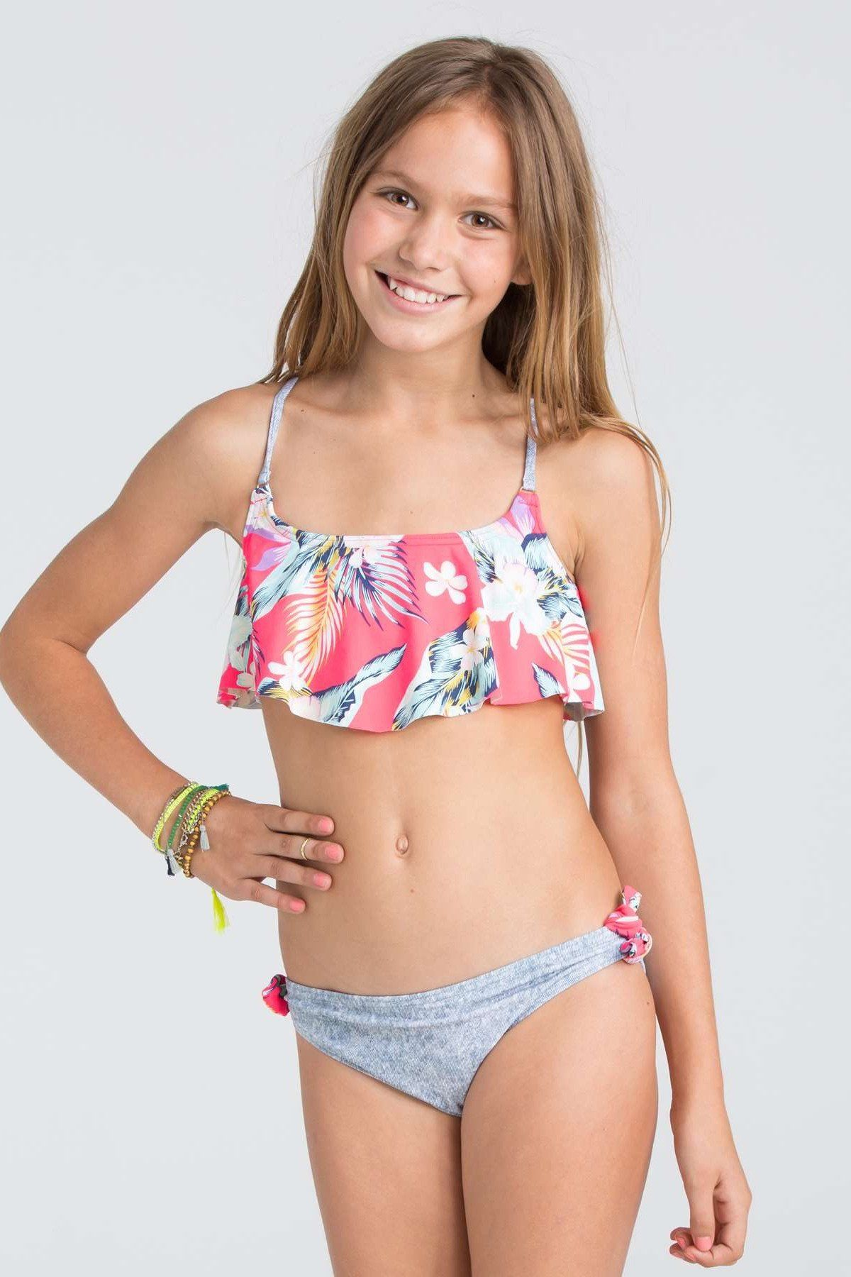 2525069be2944 Own your free spirit in this Aloha print bikini. A flounce top gives this  functional top a dash of feminine style. - Girls bikini.