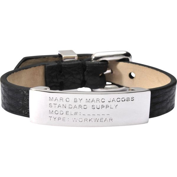 Marc By Marc Jacobs Standard Supply ID bracelet (430 SAR) ❤ liked on Polyvore featuring jewelry, bracelets, black, black bangles, kohl jewelry, marc by marc jacobs jewelry, leather id bracelet and leather jewelry