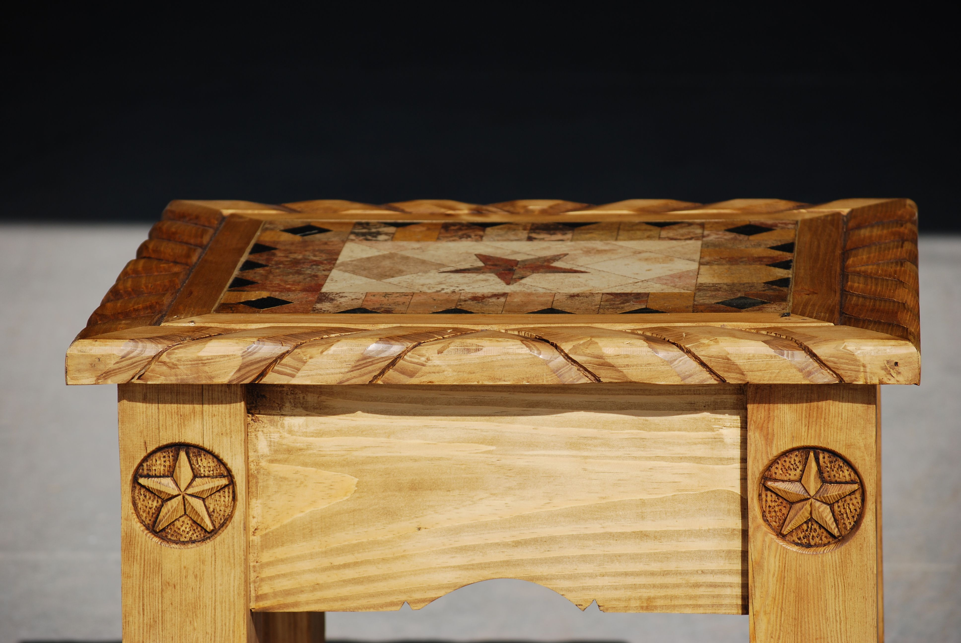 Rustic pine end table with marble and texas stars Recipes