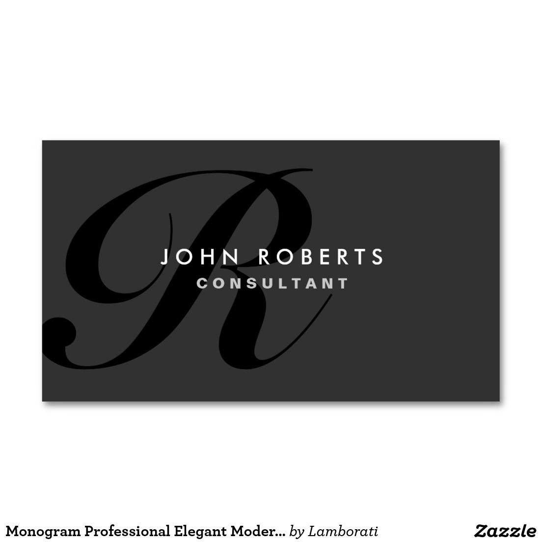 Monogram Professional Elegant Modern Black Double Sided Standard