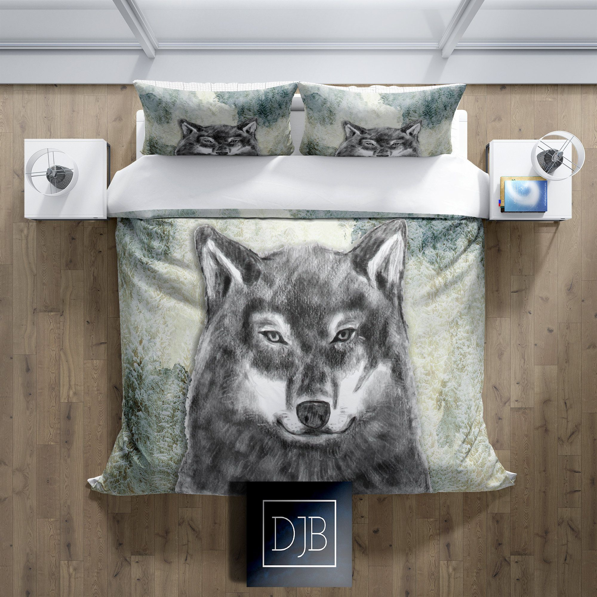 Watercolor Forest Grey Wolf Comforter Or Duvet Cover Twin Etsy In 2020 Camo Bedding Sets Daybed Bedding Sets Bedding Sets