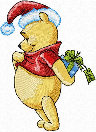 Winnie Pooh With Christmas Gift Machine Embroidery Design With