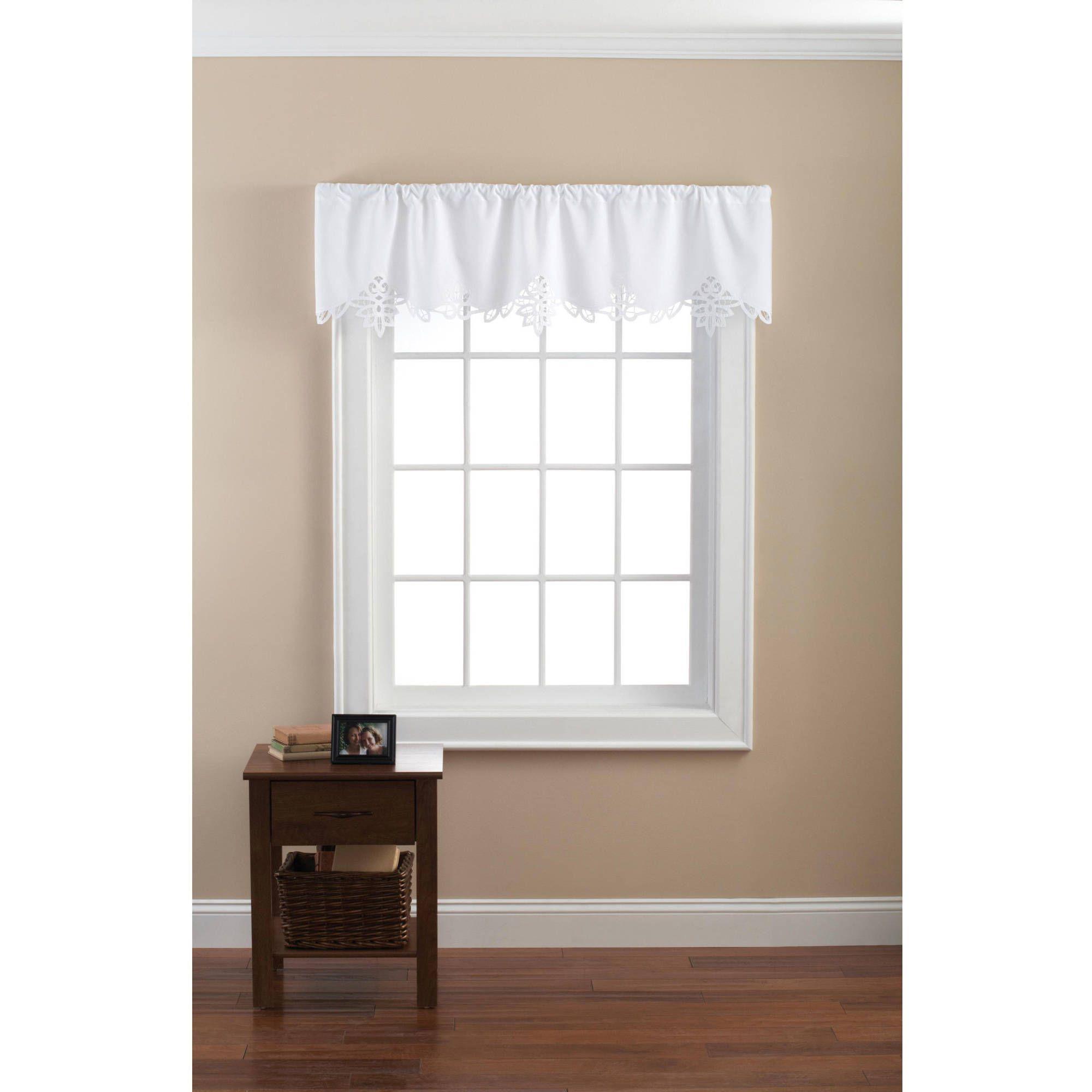 Mainstays Battenburg White Lace Curtain Valance Walmart Com In 2020 White Lace Curtains White Valance Lace Curtains