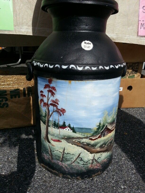 Painted Milk Can At Amish Market Oxford Pa Painted Milk Cans Milk Cans Old Milk Cans