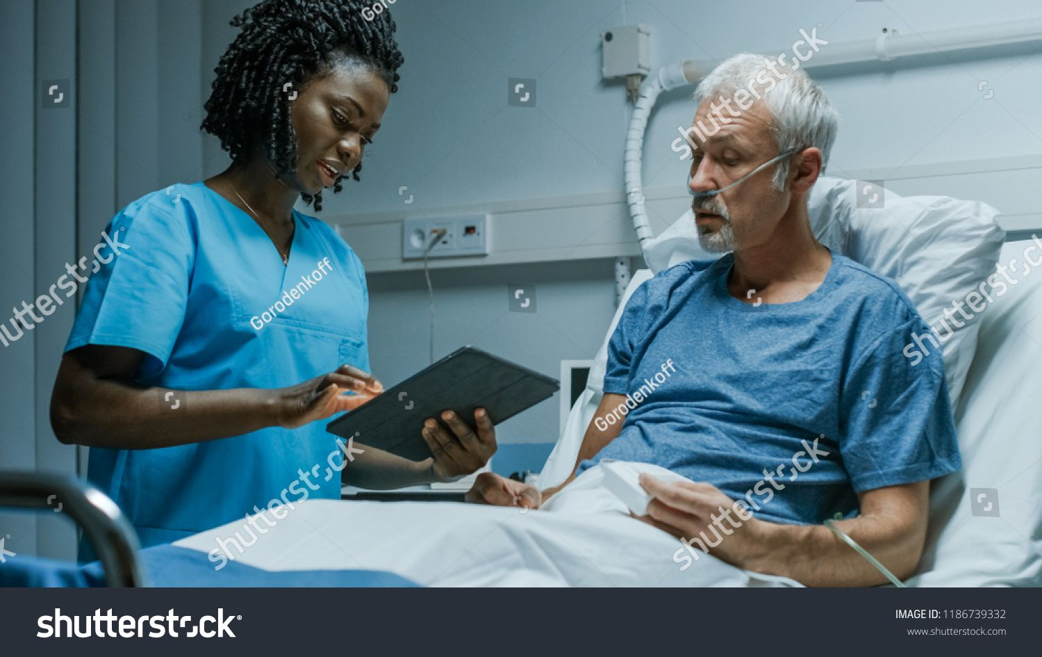 In the Hospital, Senior Patient Lying in the Bed Talking