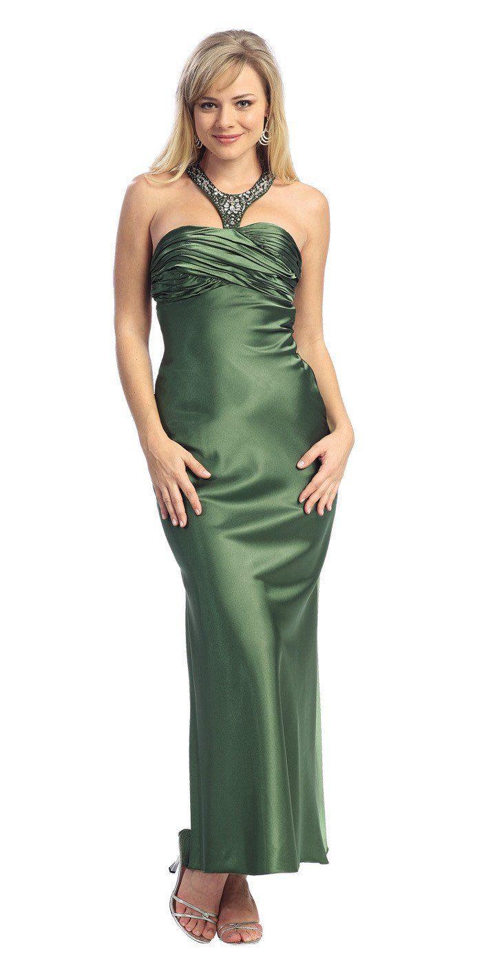 CLEARANCE - Elegant Olive Green Semi Formal