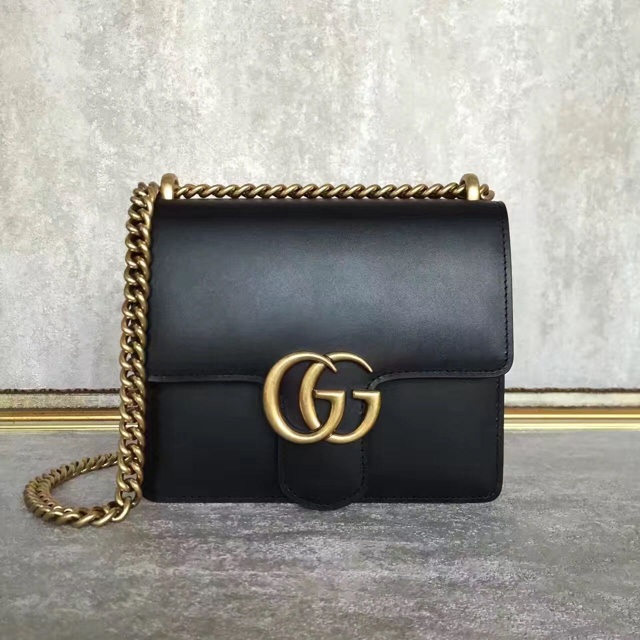 fce6672d87e0 Gucci woman chain bag cross body flap box bag original leather ...