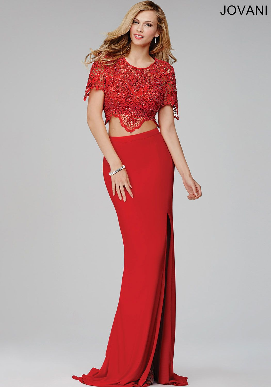 Red twopiece prom dress prom dresses prom pinterest