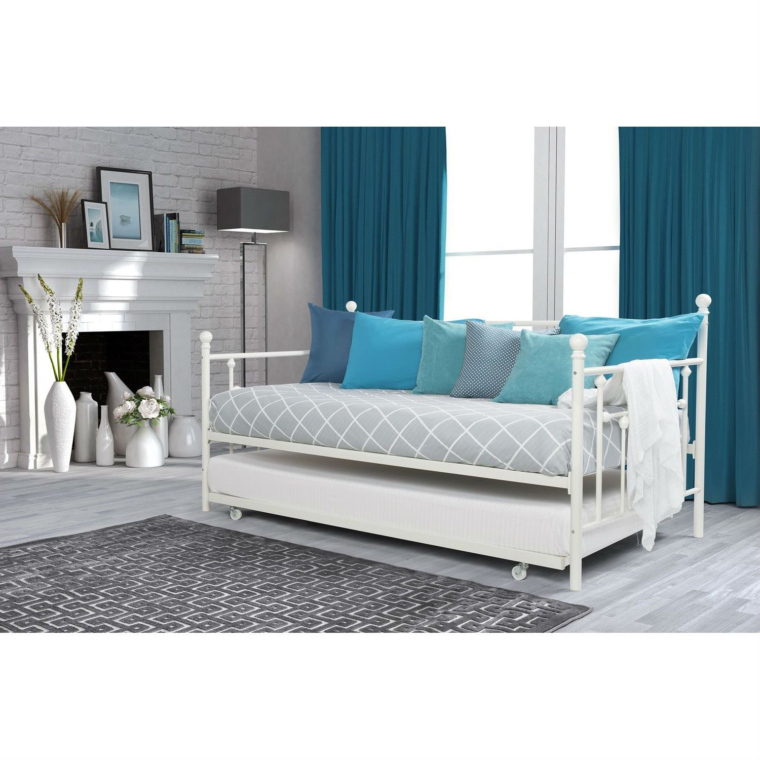 Twin size White Metal DayBed with Rollout Trundle Bed