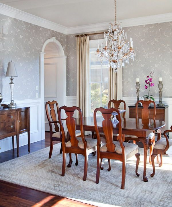 Dining Room Wall Paper: Traditional Dining Room Design With Wooden Furniture With