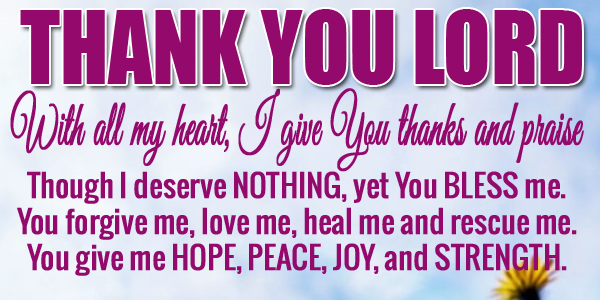 THANK YOU LORD FOR BLESSING ME TODAY Thank you lord