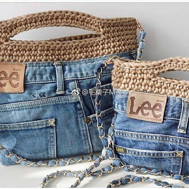 Boa idéia para aquele jeans que não usamos mais..💚 . Siga @crochetando_por_amor_ Siga @decore.com.croche Créditos @termeh_dast_baft ❤👏👏 .…