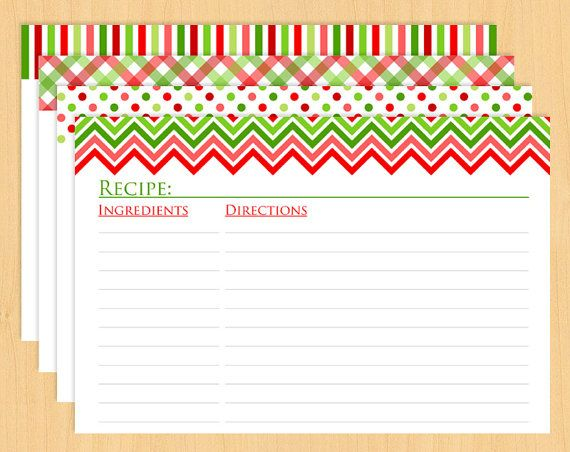 graphic about Printable Christmas Recipe Cards named Xmas Printable Recipe Playing cards 6x4\