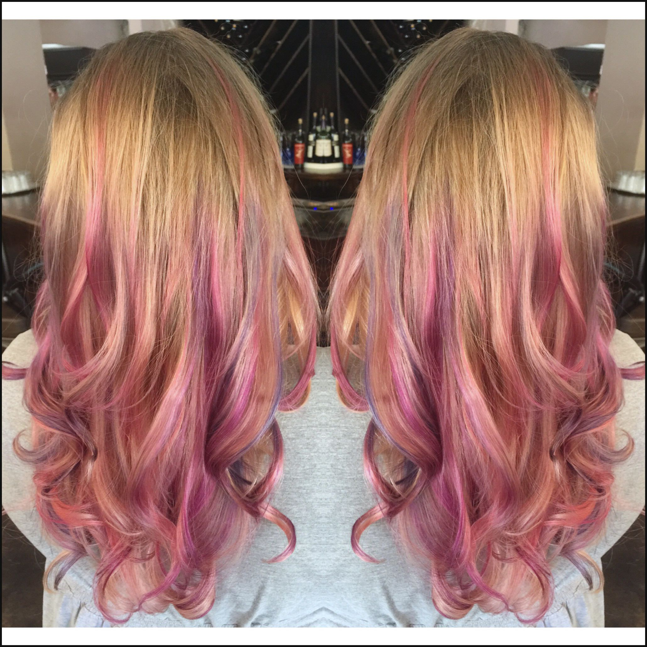 Dark Blonde To Light Blonde Balayage Ombre Pink And Purple Hair