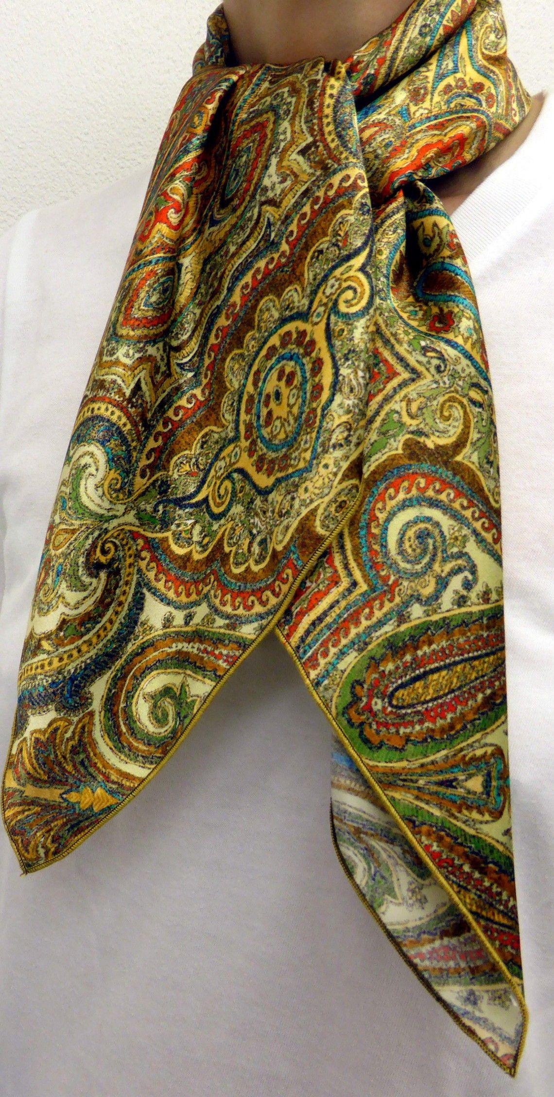 Notre foulard carré en soie cachemire jaune Idée cadeau Noel idéal,  livraison gratuite aecf792f0e6