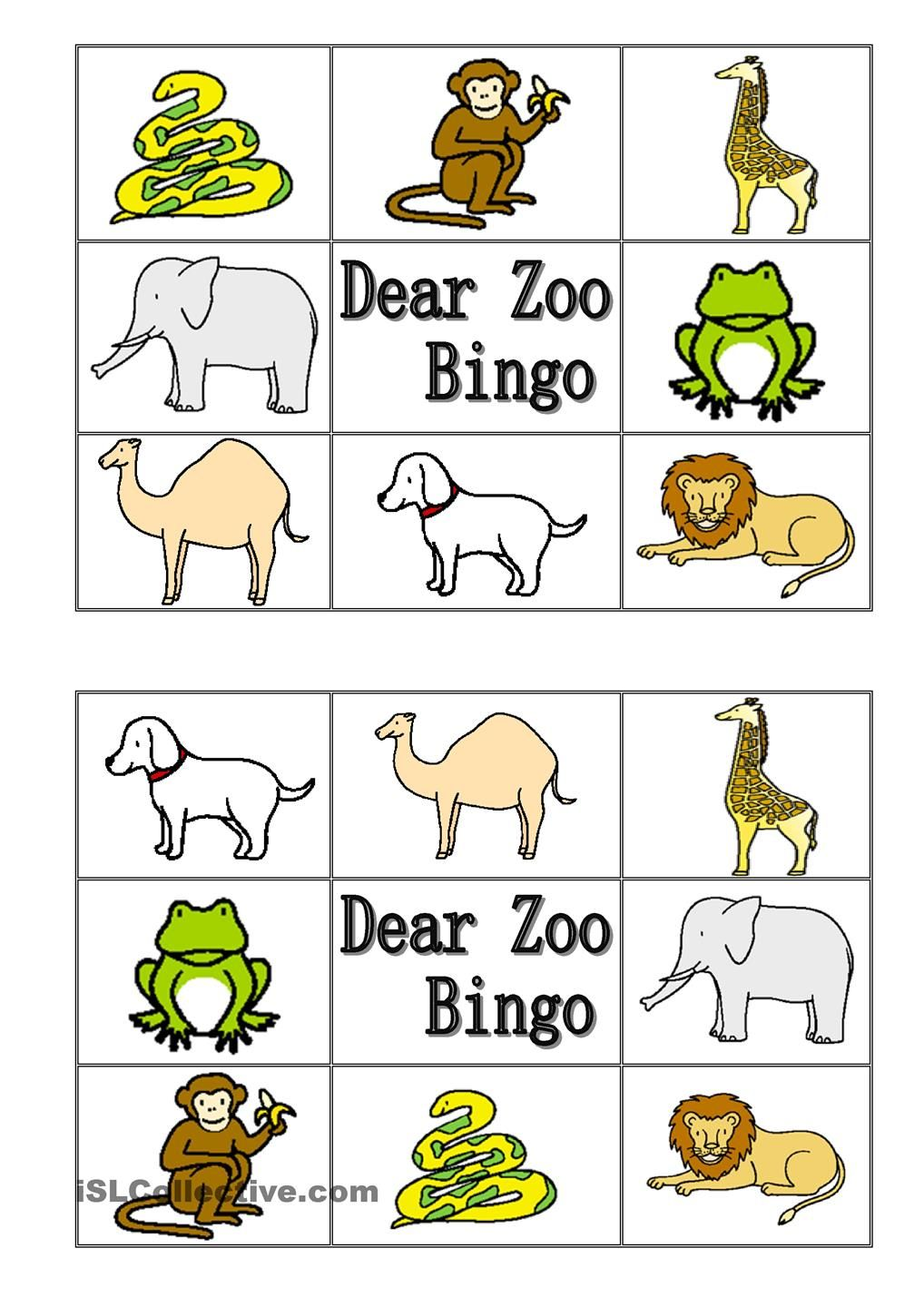 Dear Zoo Animal Bingo Dyr