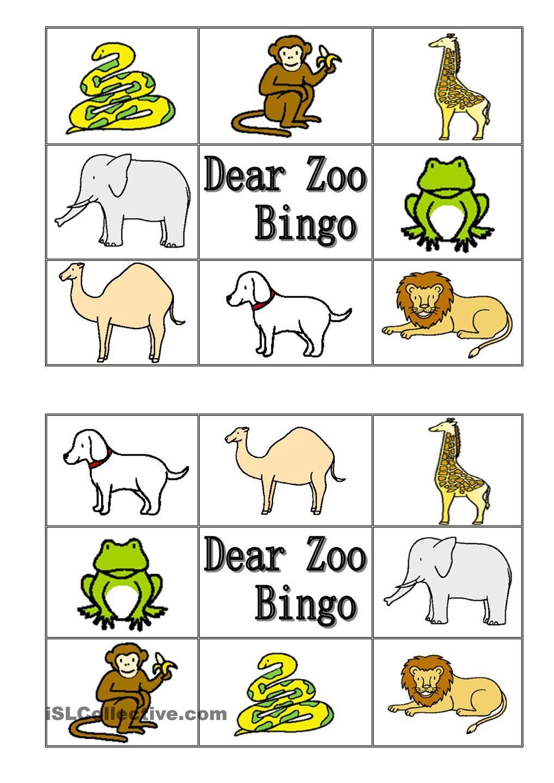 Dear Zoo Animal Bingo teamuge om dyr Pinterest
