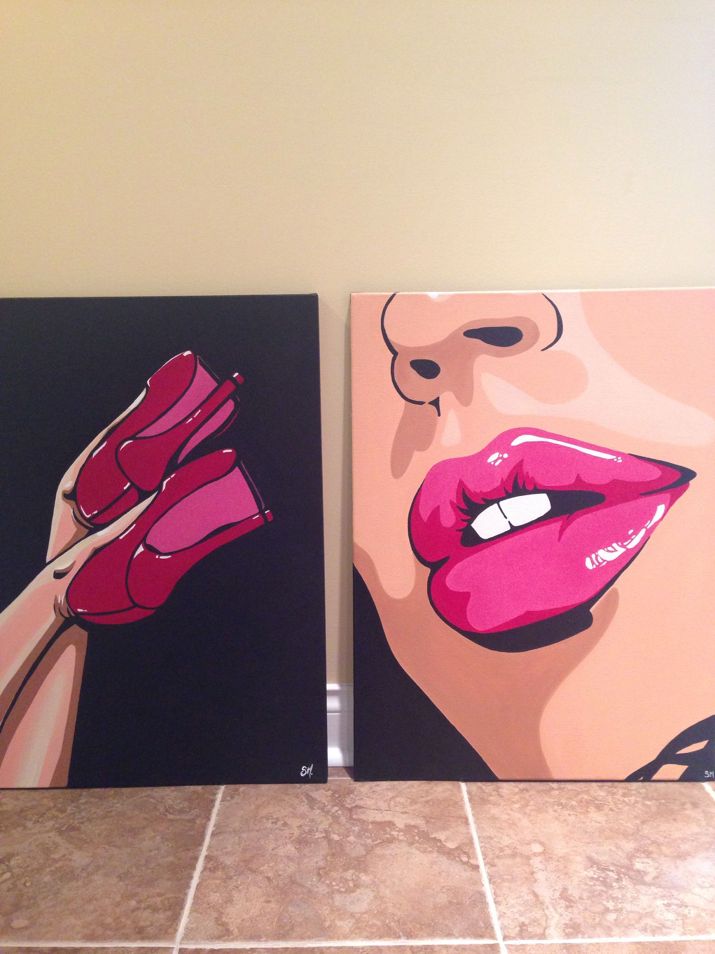 Pop art lips and heels duo. Acrylic painting in canvas. #canvaspaintingacrylic