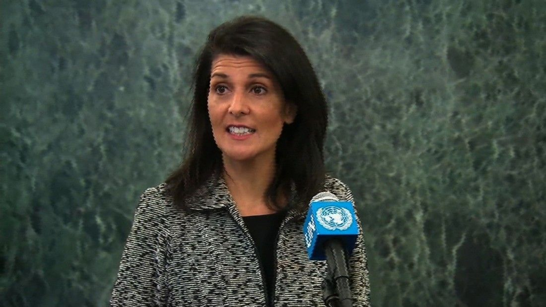 "Nikki Haley, US ambassador to the UN, spoke at the UN headquarters for the first time, stating that ""those who don't have our backs, we're taking names."""