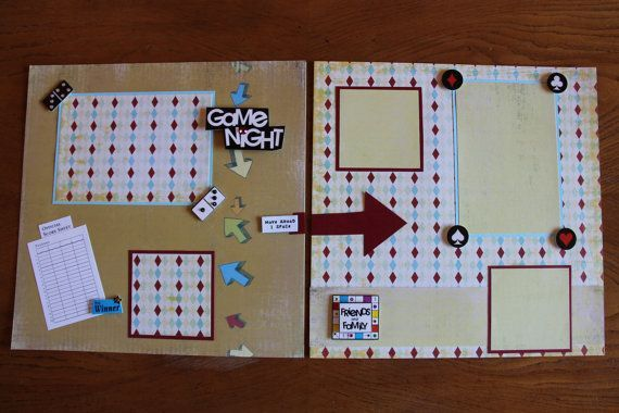 Game Night Premade Scrapbook Pages 12x12 Double by PaperTraits