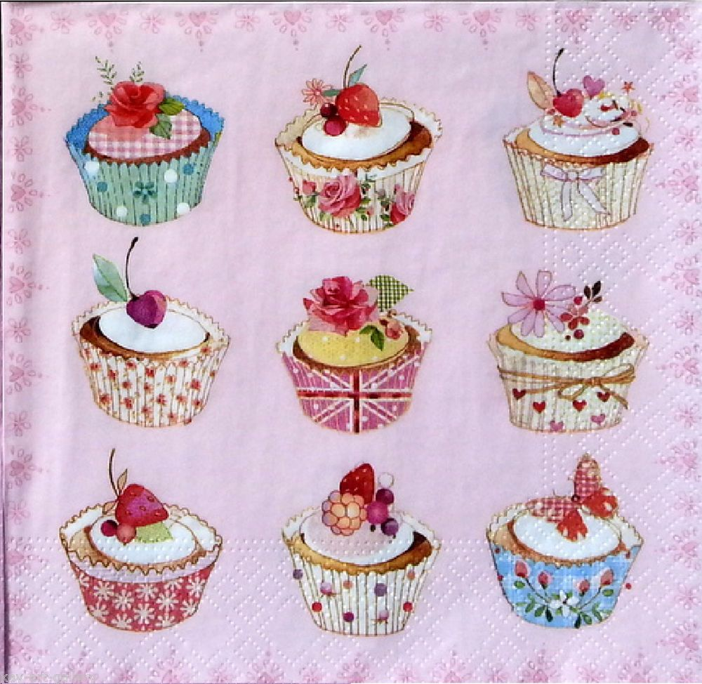 4x Paper Napkins for Party Flowered wedding cake Decoupage