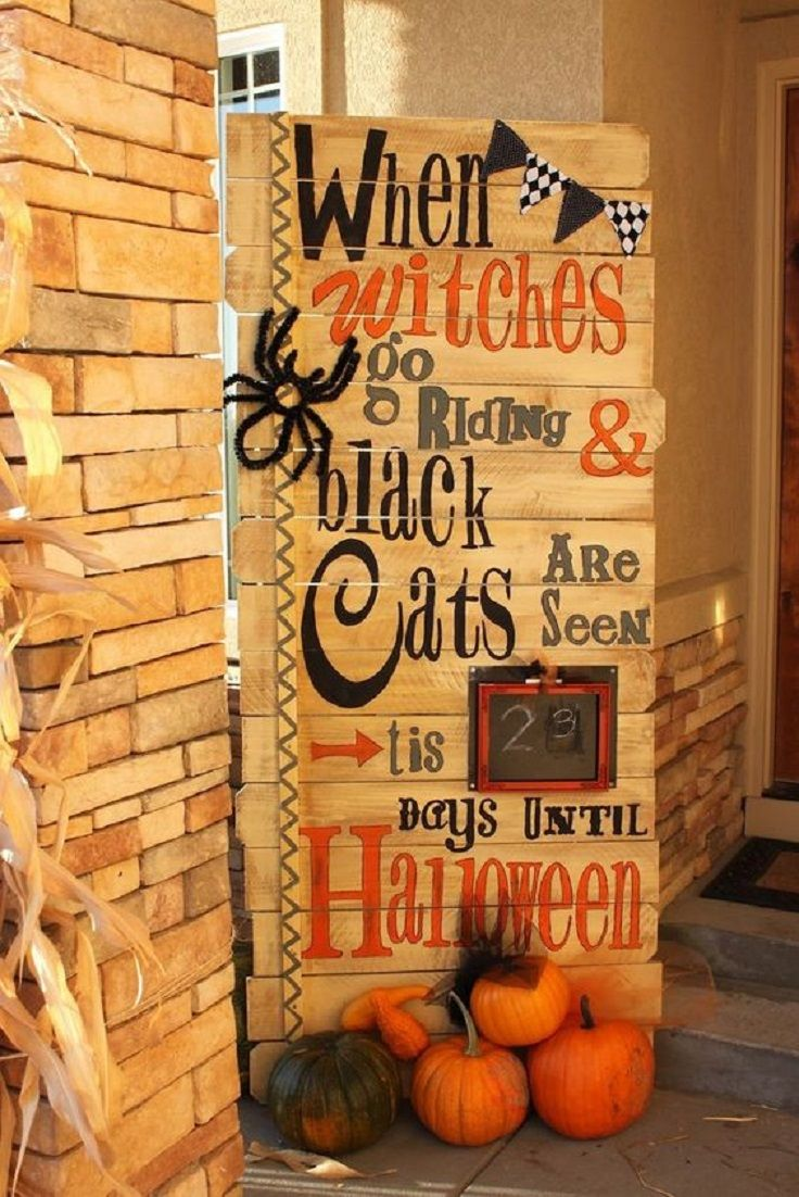 Front Porch Halloween Decorating Idea \u2013 Wooden DIY Sign Fall - Primitive Halloween Decor