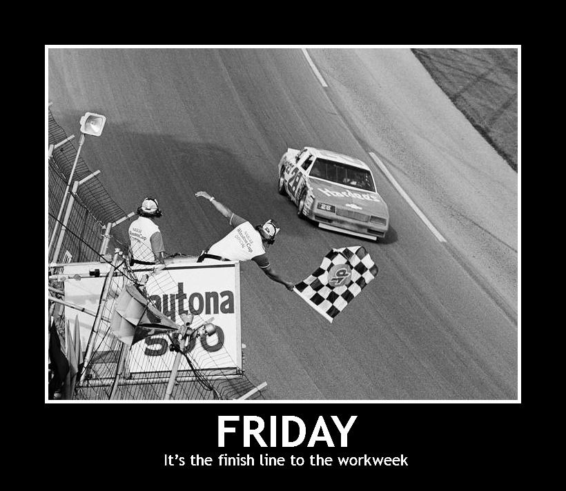 Friday the finish line to the workweek. Car humor