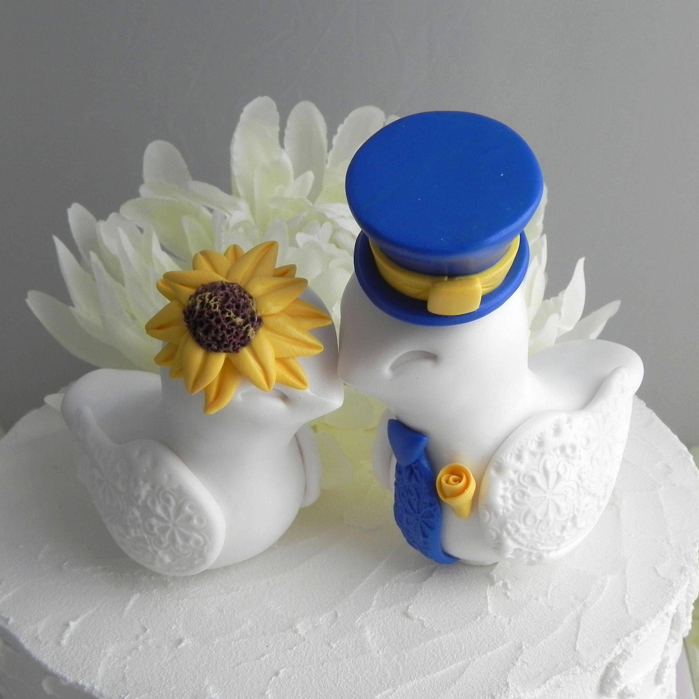 Love birds cake topper wedding sunflower wedding white