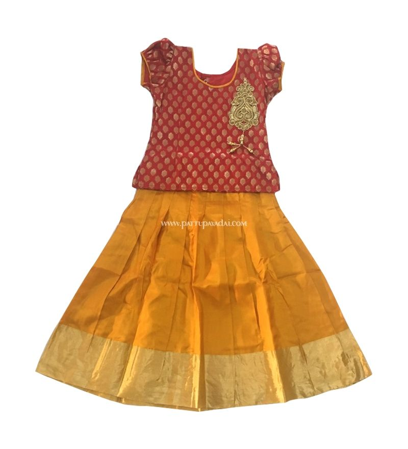 958e8d44b20060 Shop Online Red With Yellow Traditional Pattu Pavadai, Designer Wear, 5  Year Girls Dress