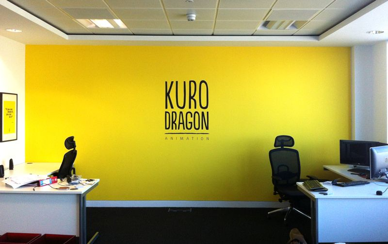 Awesome An Impact In Their Mainly White Office A Warm Yellow Feature Wall .