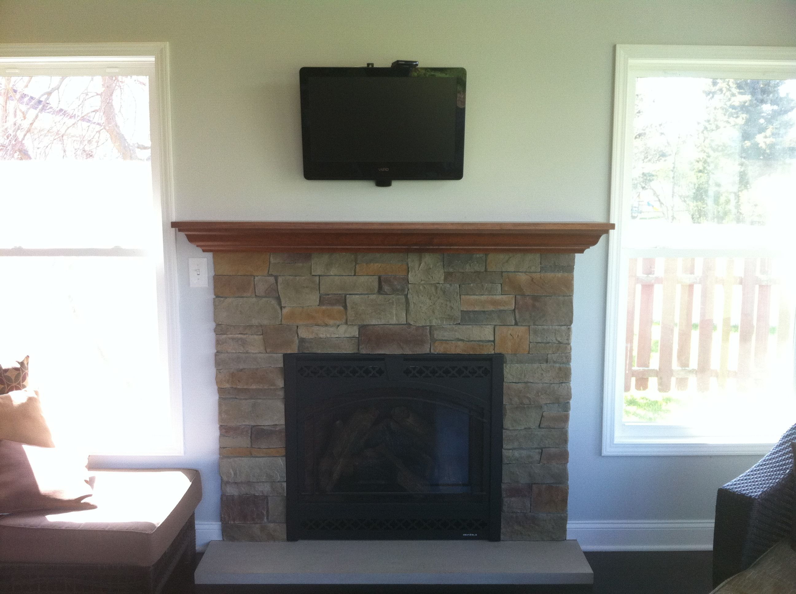 Gas Fireplace Insert Custom Maple Mantel Fieldstone Reface Limestone Hearth