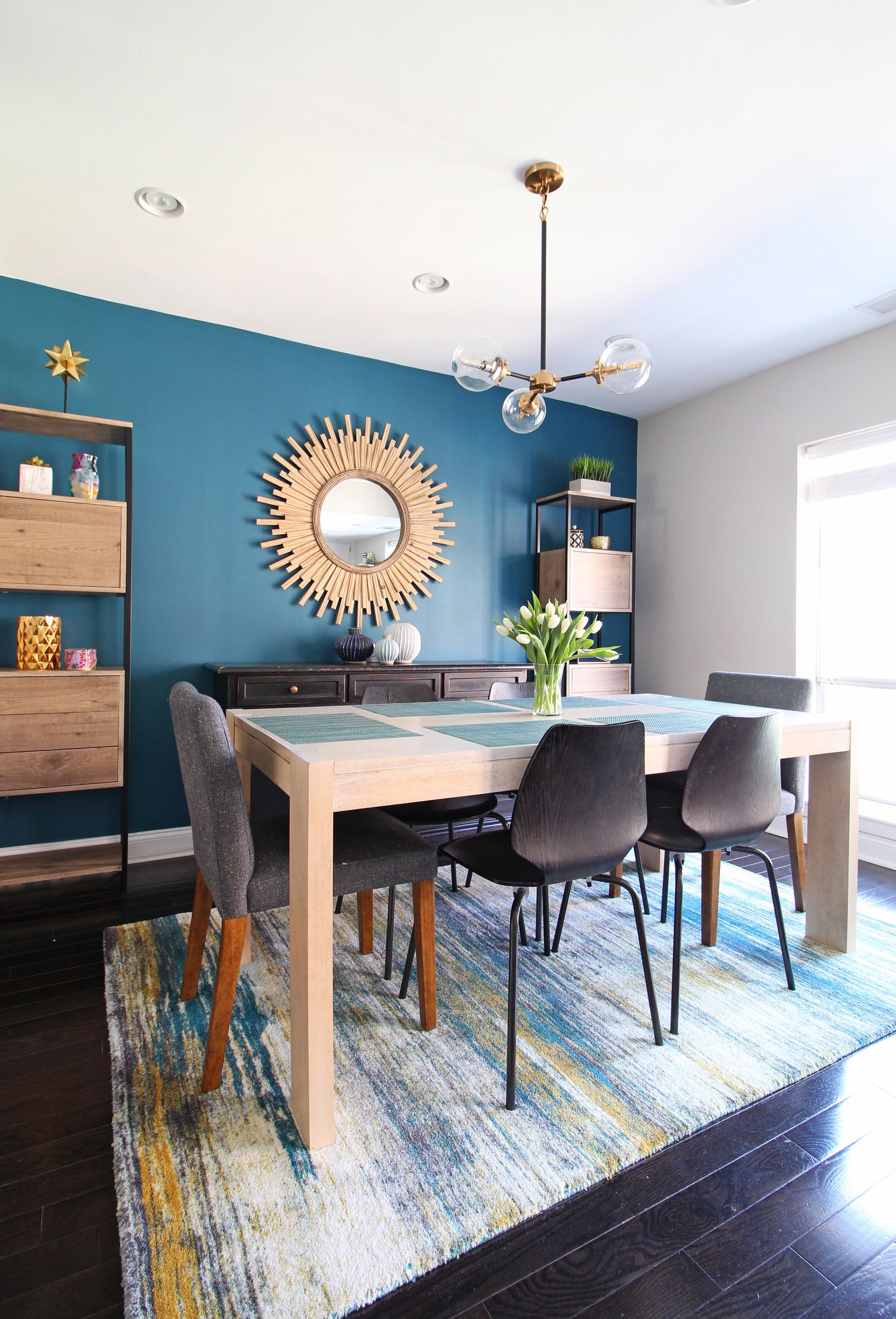 A cozy modern dining room in the heart of Philadelphia The teal