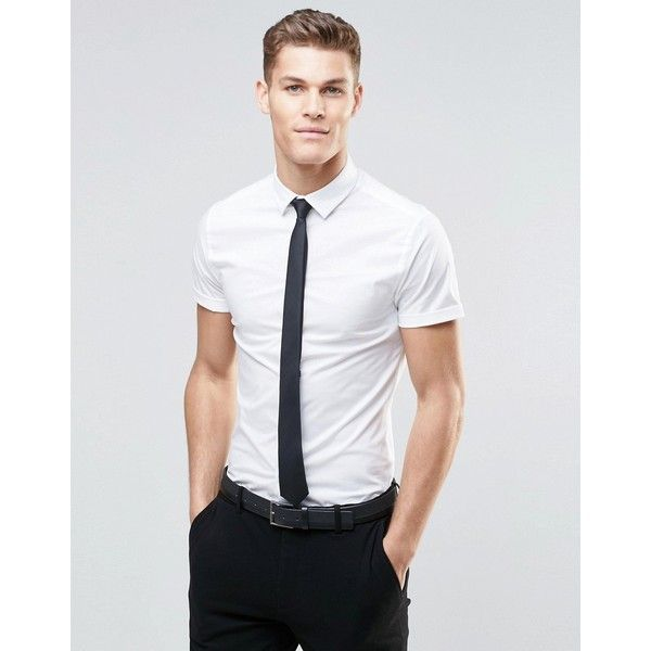 884521832e3e9 ASOS Skinny Shirt In White With Short Sleeves And Black Tie Pack ( 18) ❤  liked on Polyvore featuring men s fashion