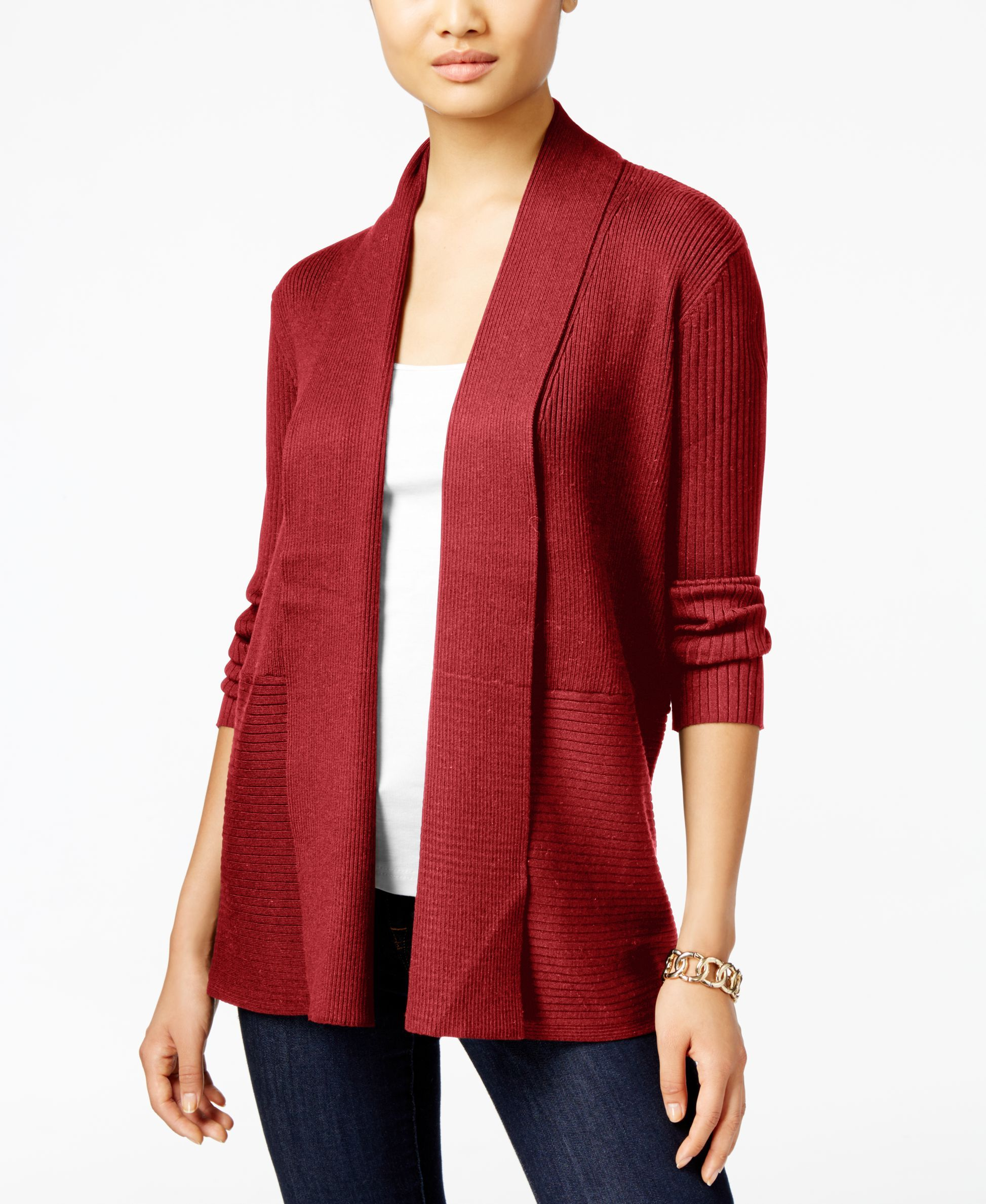 JM Collection Cropped Ruched-Sleeve Cardigan, Bright Wine
