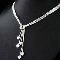 Wish | High Quality Chic Fashion 925 Sterling Silver Heart Tassel Necklace Gift New