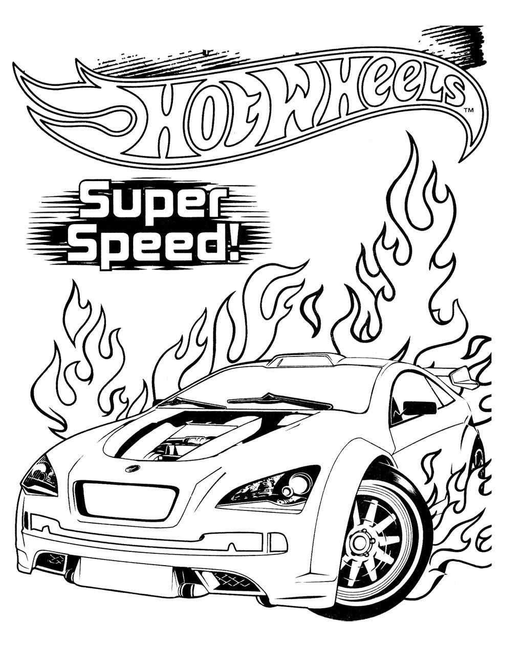 Hot Wheels Super Speed Coloring Page For Kids Baski Resim Baski